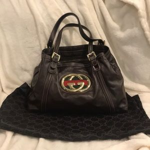 Women's Gucci Brit Shoulder Bag Brown